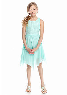 Speechless Lace to Chiffon Hanky Hem Dress Girls 7-16