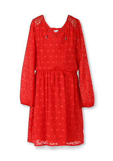 Speechless Long Sleeve Lace Peasant Dress Girls 7-16