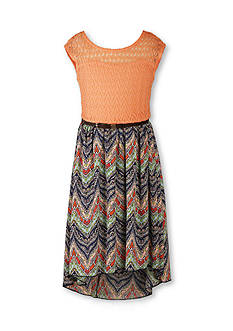 Speechless Lace to Chevron Printed High Low Dress Girls 7-16