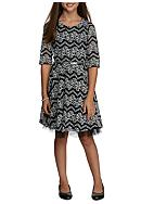 Speechless Belted Chevron Lace Party Dress Girls