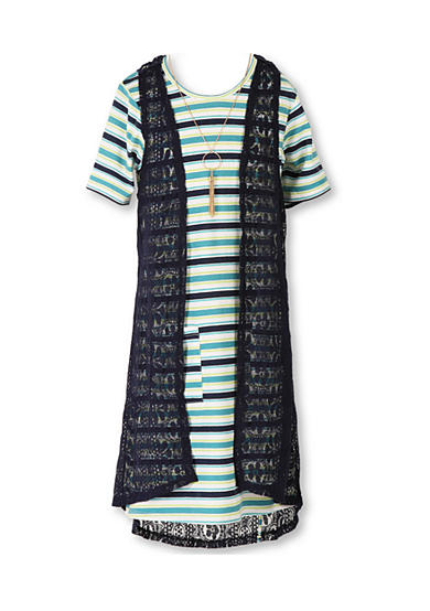 Speechless Striped Dress with Sleeveless Cozy Vest Girls 7-16