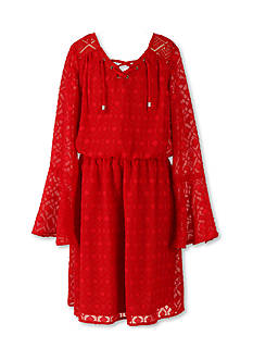 Speechless Swiss Dot Bell Sleeve Dress Girls 7-16