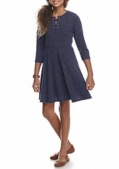 Speechless Poor Boy Ribbed Lace Up Dress Girls 7-16
