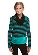 Speechless Long Sleeve Stripe 2Fer Sweater and