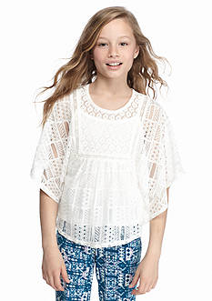 Speechless Solid Crochet Circle Top Girls 7-16