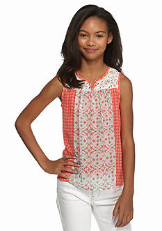 Speechless Crochet Printed Chiffon Top Girls 7-16
