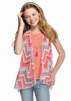 Speechless Solid Top with Chevron Crochet Vest Girls 7-16