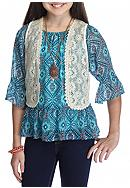 Speechless 2-Piece Printed Peasant Top and Lace