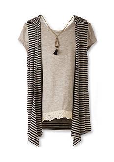 Speechless Crochet Top and Hooded Sleeveless Cozy Vest Girls 7-16
