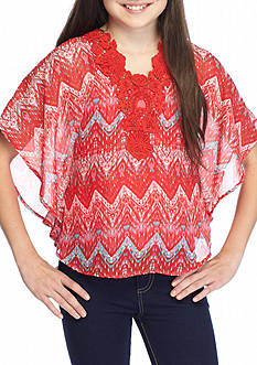 Speechless Printed Chiffon Crochet Top Girls 7-16