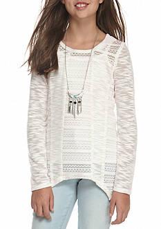 Speechless 2-Piece Long Sleeve Shark Hem Crochet Top and Cami Set Girls 7-16