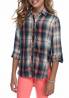 Speechless Roll Tab Sleeve Plaid Top Girls 7-16