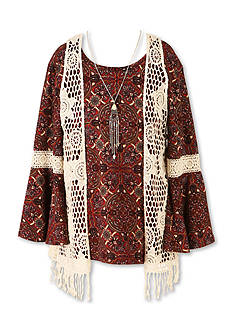 Speechless 2-Piece Bell Sleeve Top with Crochet Vest Girls 7-16