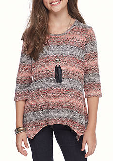 Speechless Hacci Knit Shark Bite Hem Sweater with Necklace Girls 7-16