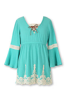 Speechless Solid Lace Up Peasant Top Girls 7-16