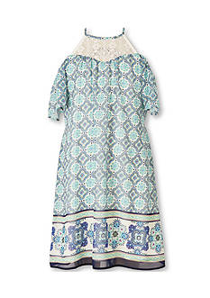 Speechless Border Print Cold Shoulder Dress Girls 7-16