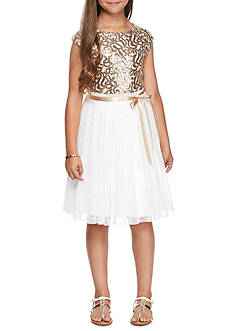Speechless Bodice/Mesh Skirt Ivory Sequin Dress