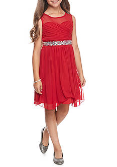 Speechless Red Illusion Neck Jeweled Waist Dress