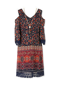 Speechless Cold Shoulder Print Dress Girls 7-16 Plus