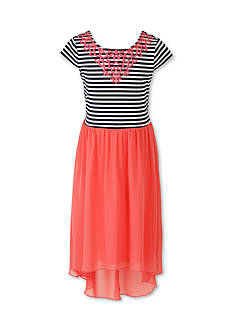 Speechless Short Sleeve Blue Stripe Pink Chiffon Dress - Girls 7-16