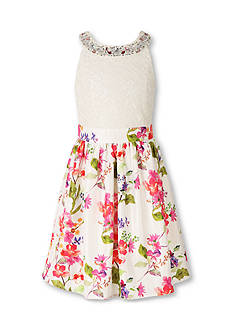 Speechless Floral Print Halter Dress Girls 7-16