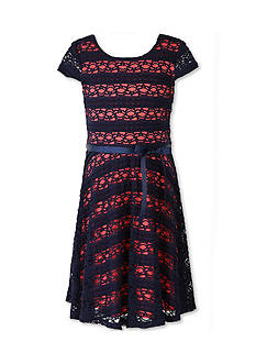 Speechless Navy and Coral Lace Dress - Girls 7-16