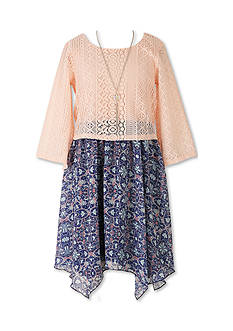 Speechless Blush Lace Popover with Floral Skirt - Girls 7-16