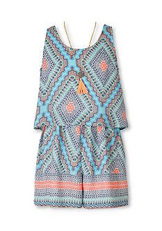 Speechless Tribal Border Print Romper Girls 7-16