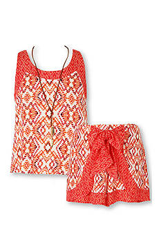 Speechless Printed Tank and Bow Short 2-Piece Set Girls 7-16