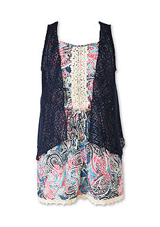 Speechless Chiffon Romper and Lace Cozy 2fer Girls 7-16
