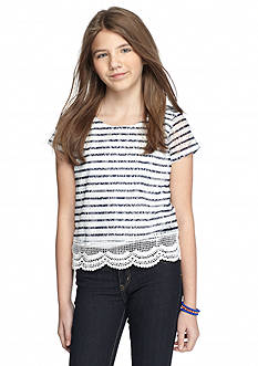 SEQUIN HEARTS girls Stripe Crochet Overlay Top Girls 7-16