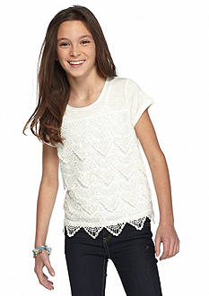 SEQUIN HEARTS girls Short Sleeve Drippy Lace Solid Top Girls 7-16