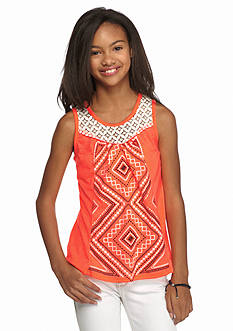 SEQUIN HEARTS girls Geo Print Crochet Tank Girls 7-16