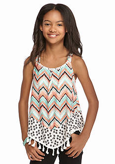 SEQUIN HEARTS girls Chevron Print Fringe Tank Girls 7-16