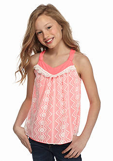 SEQUIN HEARTS girls Crochet Fringe Lace Overlay Tank Top Girls 7-16