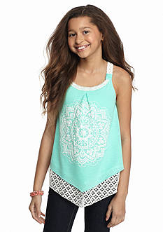 SEQUIN HEARTS girls Lace Printed Tank Top Girls 7-16