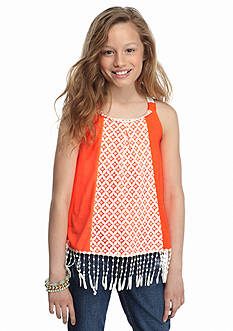 SEQUIN HEARTS girls Crochet Fringe Tank Top Girls 7-16