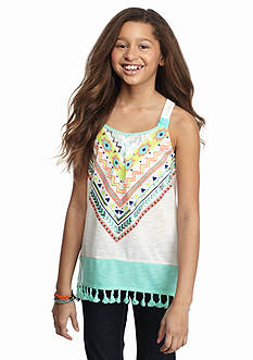 SEQUIN HEARTS girls Tribal Shark-bite Fringe Tank Top Girls 7-16