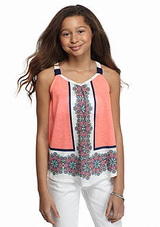 SEQUIN HEARTS girls Crochet Printed Swing Tank Top Girls 7-16