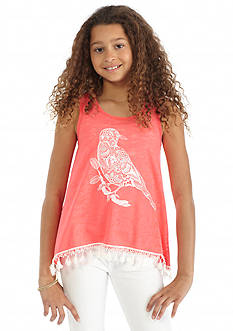 SEQUIN HEARTS girls Pom Pom Tank Top Girls 7-16