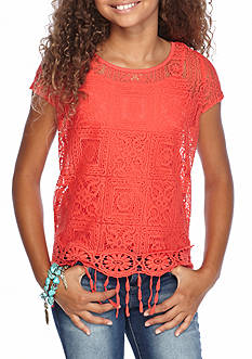 Sequin Hearts Lace Fringe Top Girls 7-16