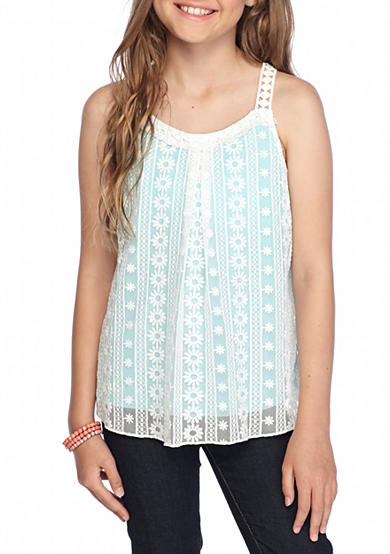 sequin hearts Lace Overlay Tank Top Girls 7-16