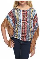My Michelle Tribal Printed Suede Fringe Poncho