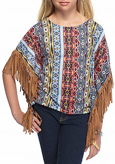 SEQUIN HEARTS girls Tribal Printed Suede Fringe Poncho Girls 7-16