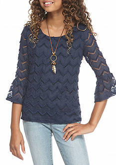 SEQUIN HEARTS girls Lace Flare Sleeve Top Girls 7-16