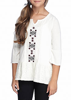 SEQUIN HEARTS girls White Crochet Hem Top Girls 7-16
