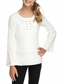 SEQUIN HEARTS girls Lace Up Crochet Sleeve Top Girls 7-16