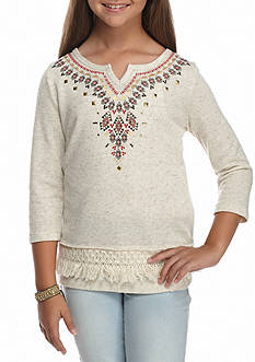 SEQUIN HEARTS girls Fringe Top Girls 7-16
