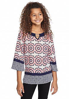 SEQUIN HEARTS girls Three-Quarter Sleeve Printed Tunic Girls 7-16