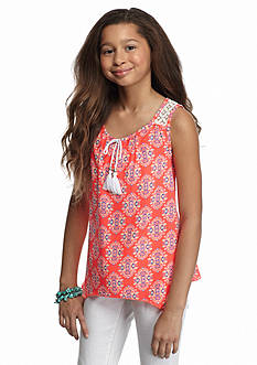SEQUIN HEARTS girls Printed Tassel Shark-bite Tank Top Girls 7-16
